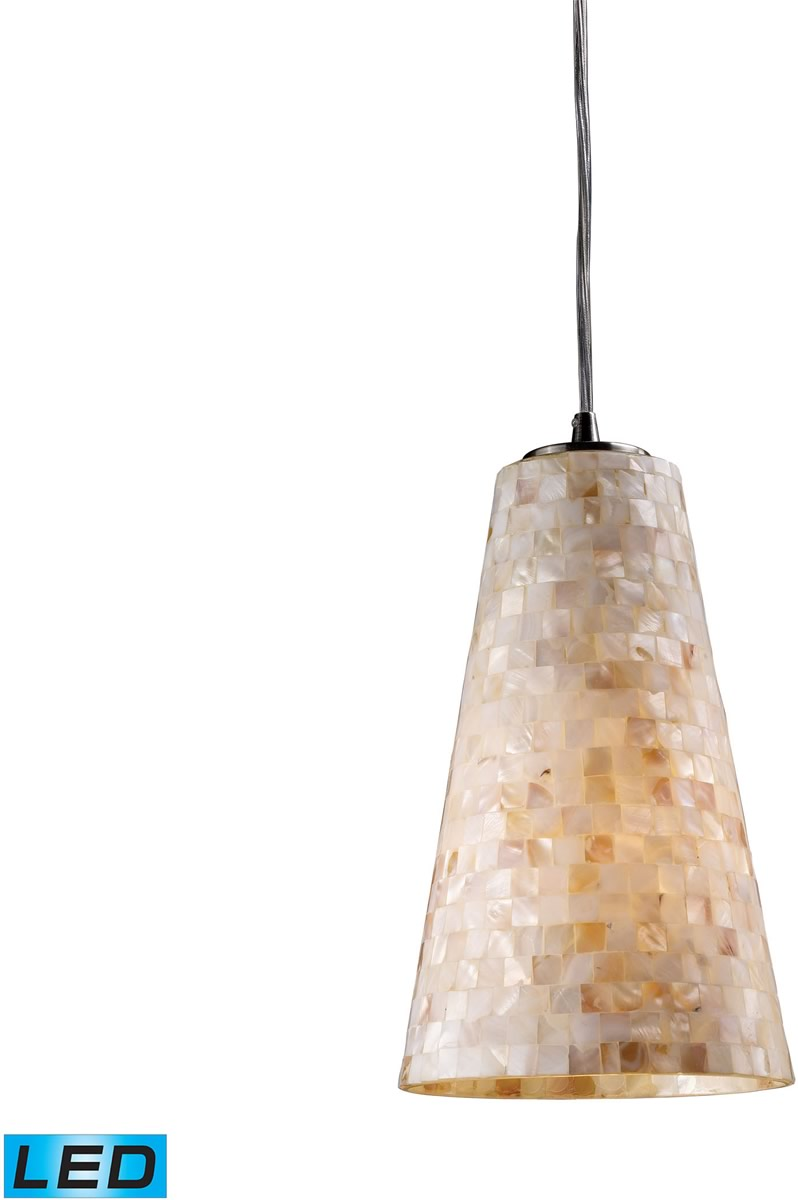 "6""W Capri 1-Light LED Pendant Satin Nickel/Capiz Shell"