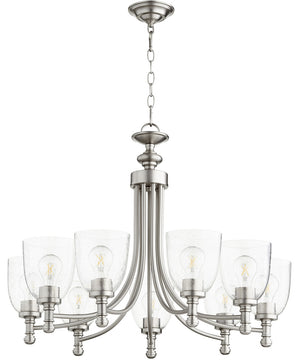"31""W Rossington 9-light Chandelier Satin Nickel w/ Clear/Seeded"