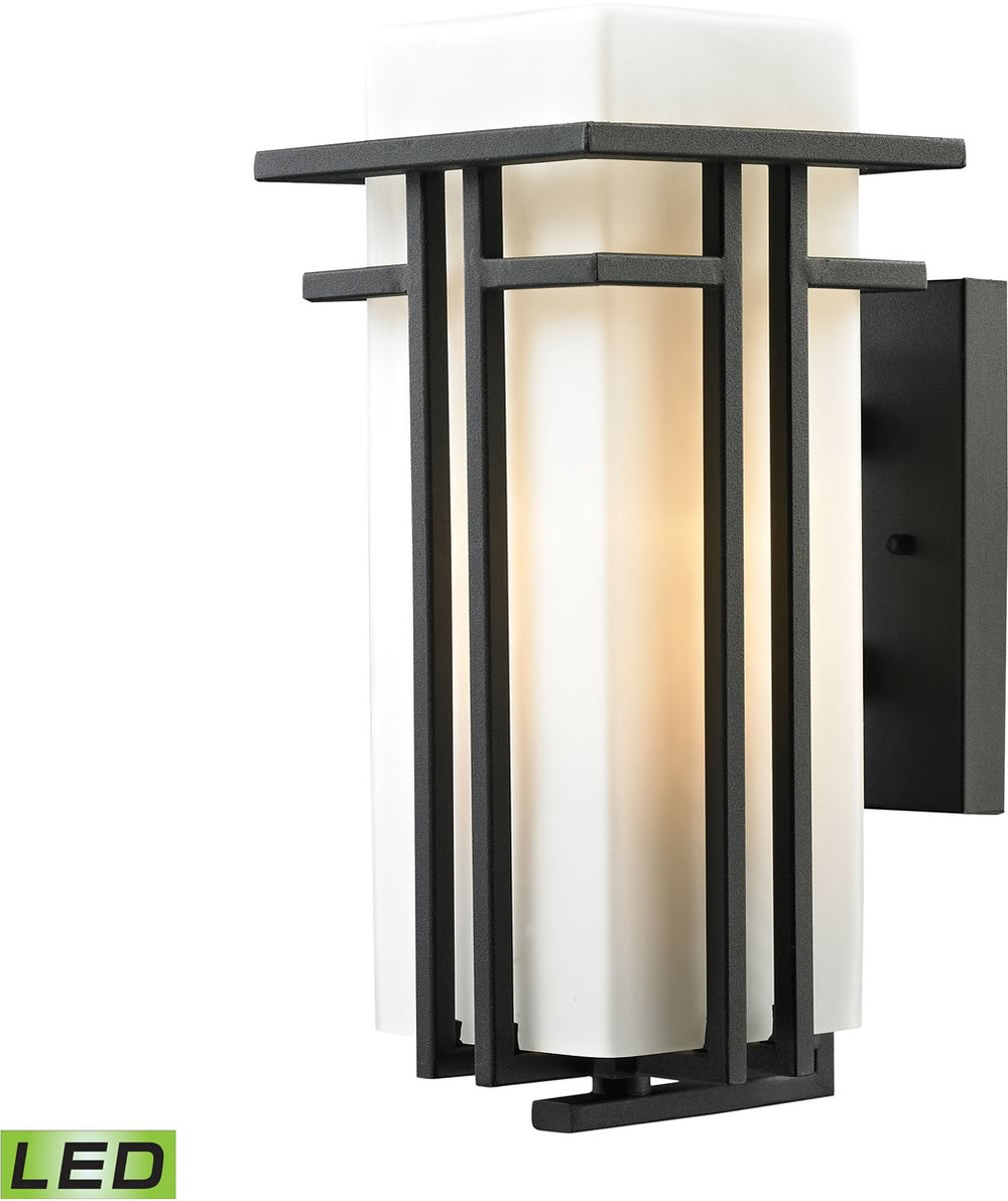 "15""H Croftwell 1-Light Outdoor LED Sconce Textured Matte Black"