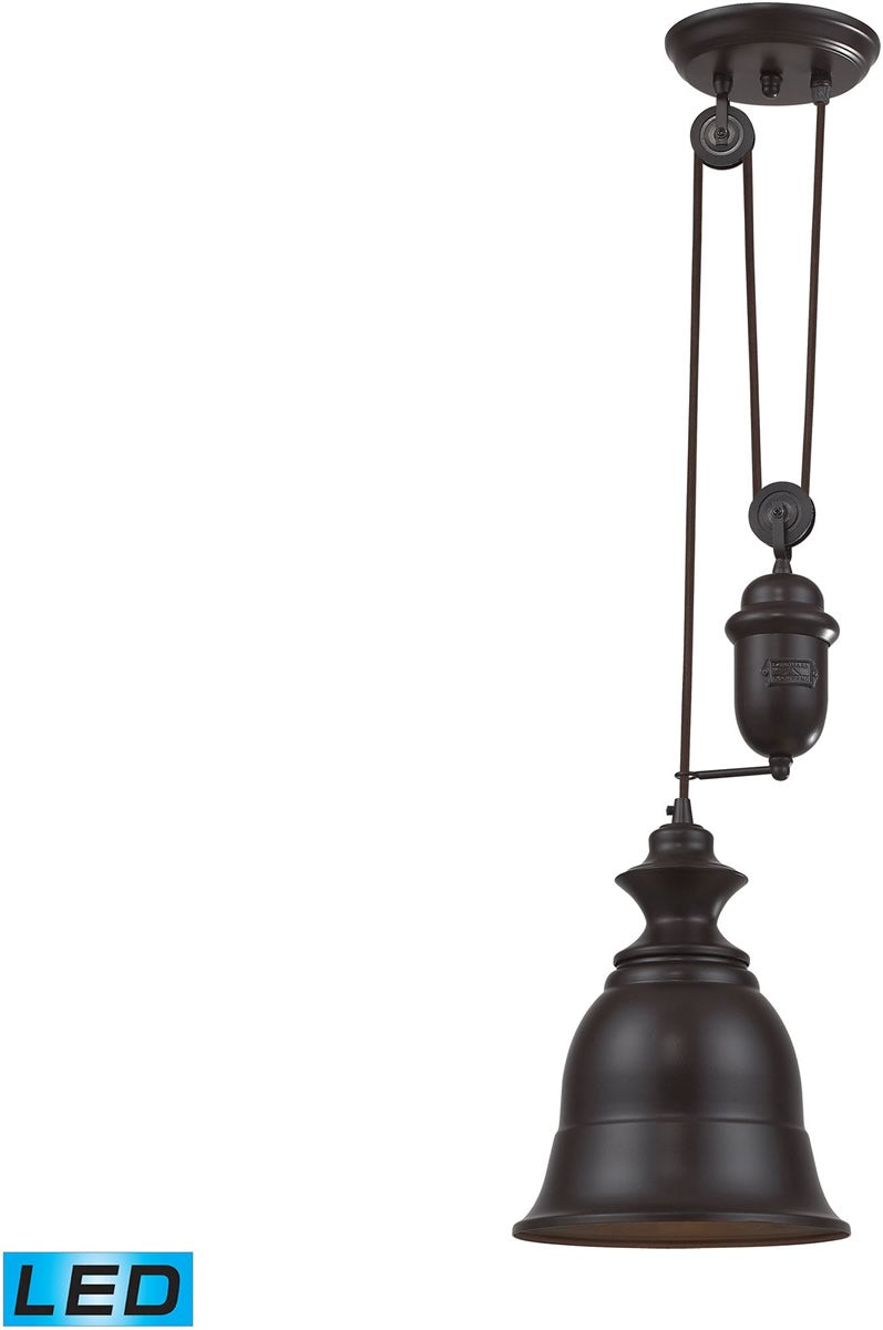 "8""W Farmhouse 1-Light Adjustable LED Pendant Oiled Bronze"