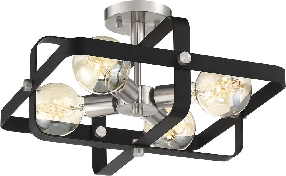 "16""W Prana 4-Light Close-to-Ceiling Matte Black / Brushed Nickel"