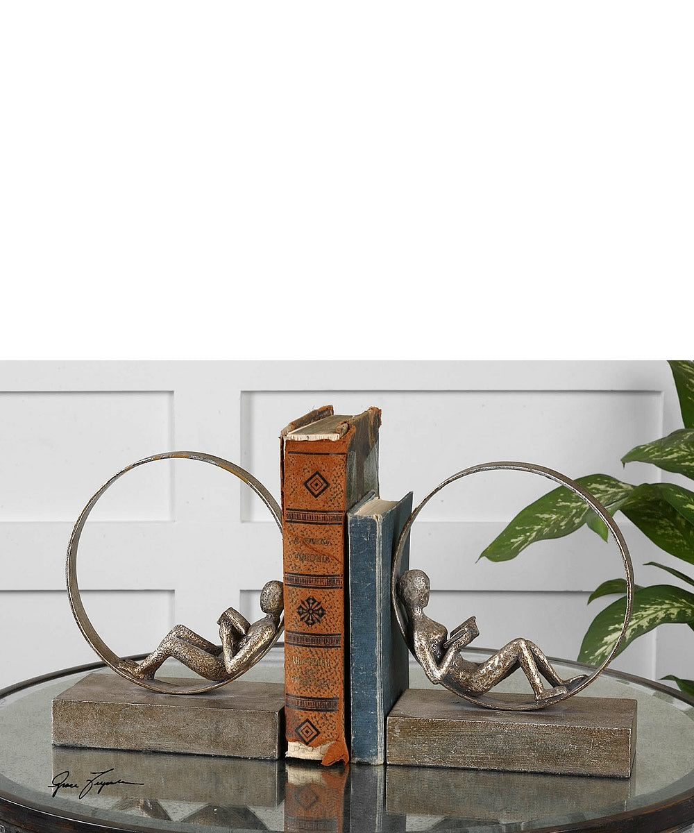 "10""H Lounging Reader Antique Bookends Set of 2"