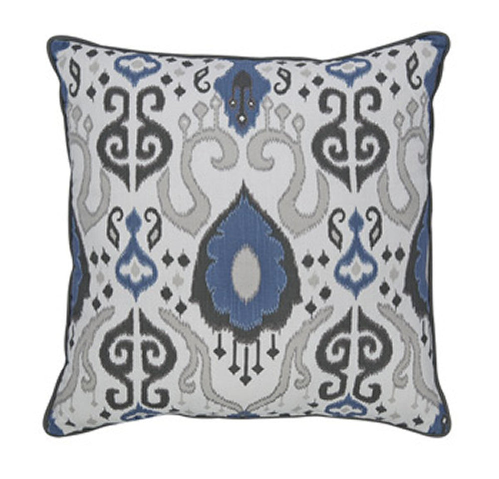 "20""W Damaria Pillow Blue/Ivory/Brown"