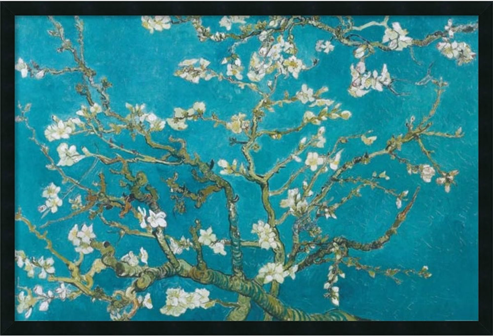 "25x37"" Almond Branches in Bloom Framed Art Gel Coated"