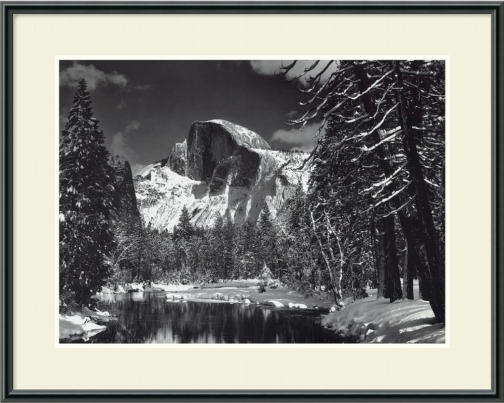 "29x23"" Ansel Adams Half Dome Winter Yosemite National Park 1938 Framed Print"