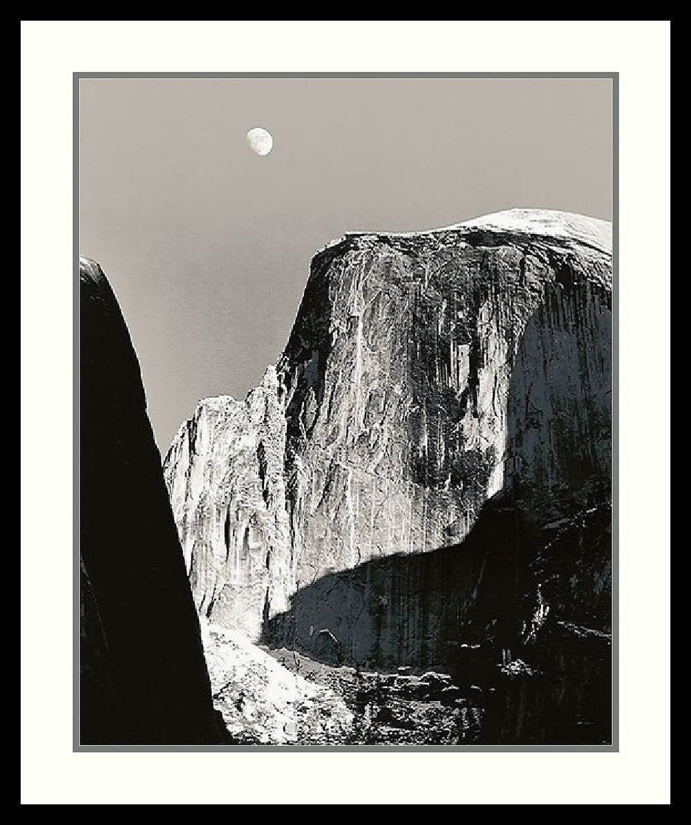 "27x31"" Ansel Adams Moon Over Half Dome Framed Print"