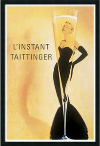 "37x25"" Champagne Taittinger Framed Art Gel Coated"