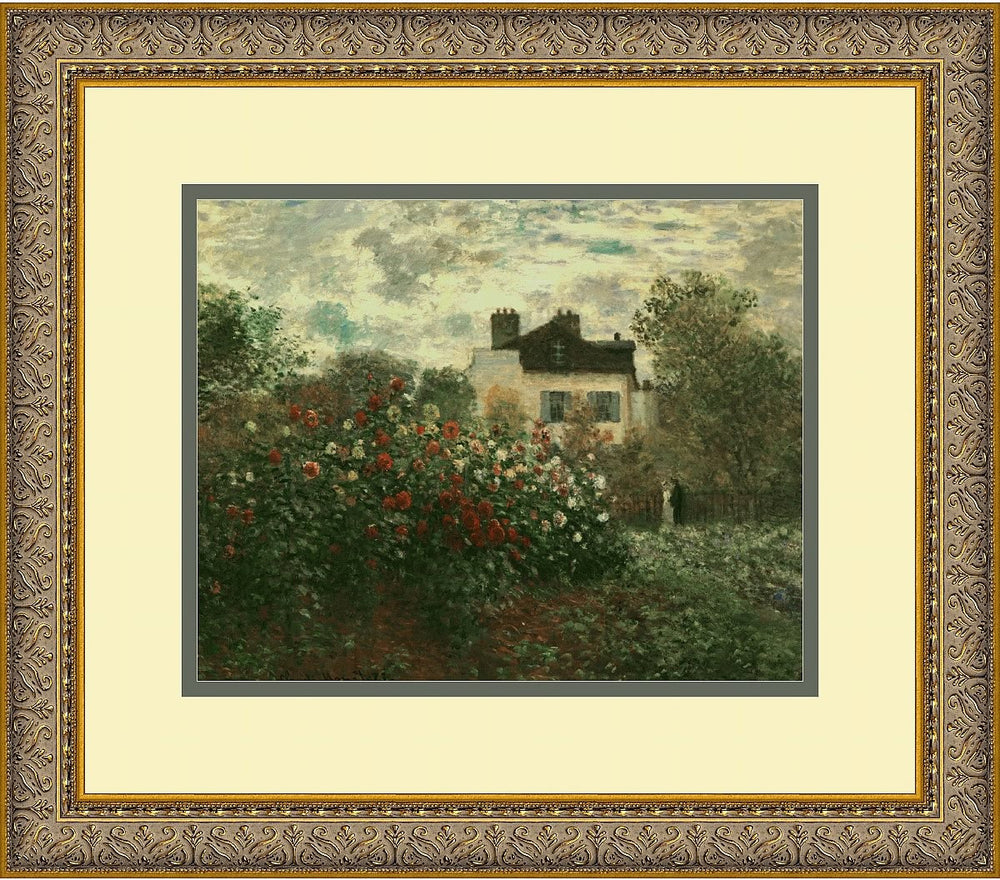"14""H x 16""W Claude Monet The Artists Garden at Argenteuil 1873 Framed Print"
