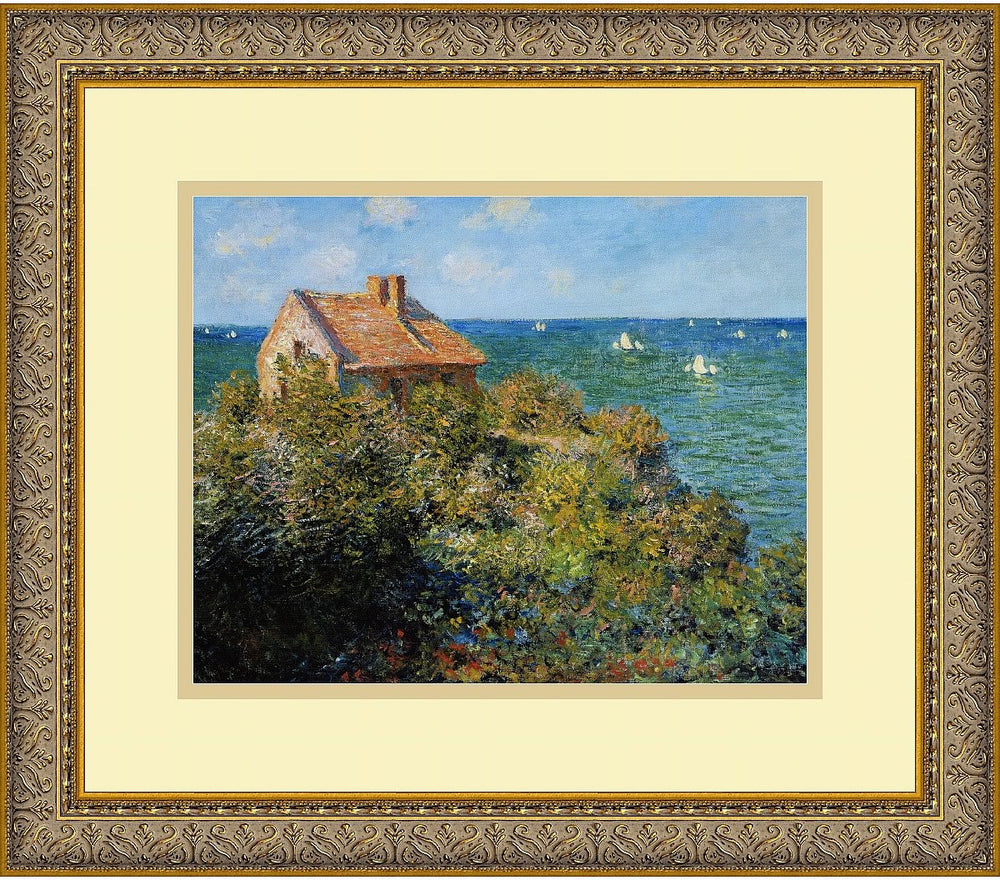 "14""H x 16""W Claude Monet Fishermans Cottage on the Cliffs at Varengeville 1882 Framed Print"