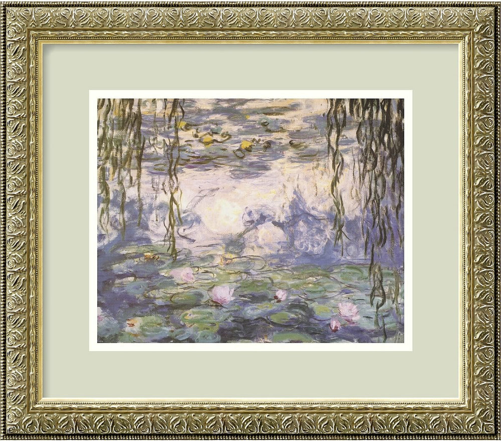 "16x14"" Claude Monet Water Lilies and Willow Branches Framed Print"