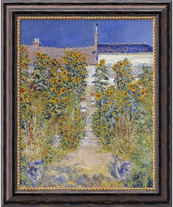 Amanti Art Claude Monet The Artists Garden at Vetheuil 1880 Framed Art Canvas Canvas AA01541
