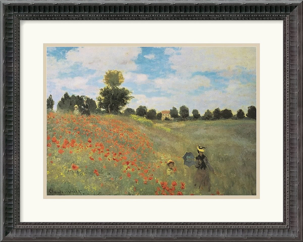 "21x17"" Claude Monet Poppies at Argenteuil 1873 Framed Print"