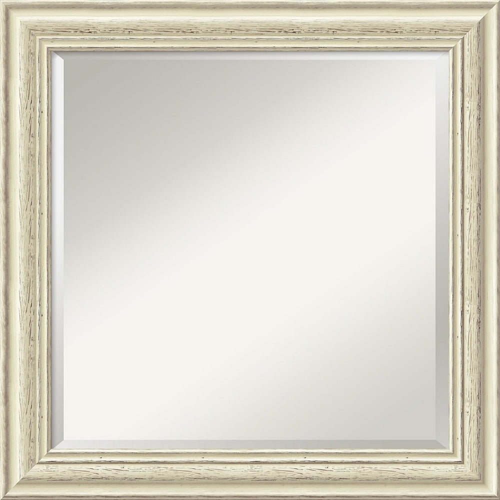"25""H x 25""W Country Whitewash Square Mirror Framed Mirror"