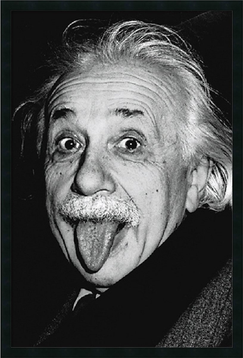 "25x37"" Albert Einstein Funny Face Framed Print"