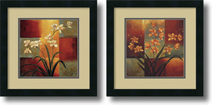 "16""H Jill Deveraux White Orchid Orange Orchid Set of 2 Framed Art Print Satin Black"