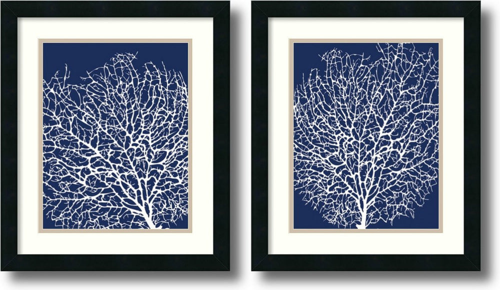 Sabine Berg Navy Coral Set of 2 Framed Art Print Satin Black