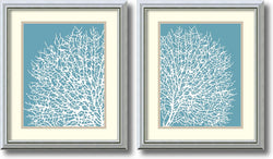 Sabine Berg Aqua Coral Set of 2 Framed Art Prints