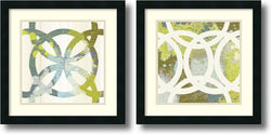 Amanti Art MAJA Ornamental Circling Set of 2 Framed Art Print Satin Black AA1004319