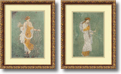 Pompeian Primavera and Diana Set of 2 Framed Art Print Antique Bronze