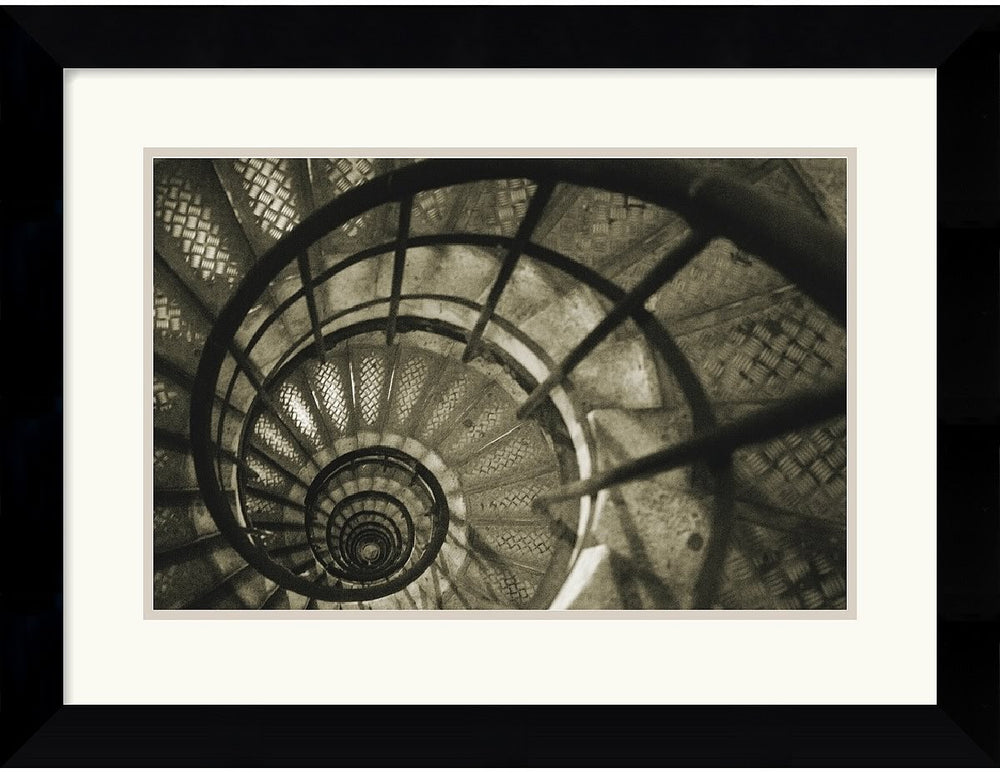 "25x20"" Christian Peacock Spiral Staircase in Arc de Triomphe Framed Print"