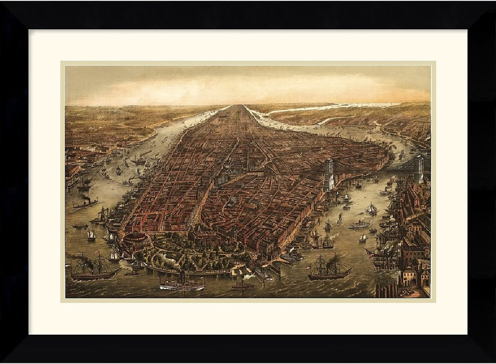 "28x21"" Ward Maps New York 1873 Framed Print"