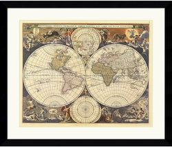 Amanti Art Ria Visscher New World Map 17th Century Framed Print AA114080