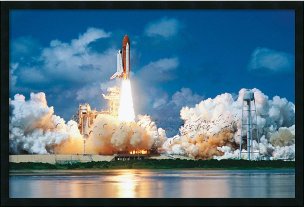 "26""H x 38""W Space Shuttle Take-Off Framed Art Gel Coated"