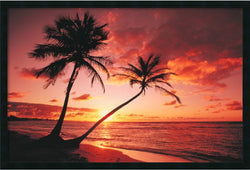 "25x37"" Tropical Beach Sunset Framed Art Gel Coated"