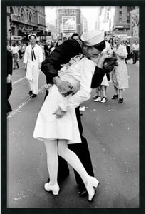 "37x25"" Kissing on VJ Time Square Framed Art Gel Coated"