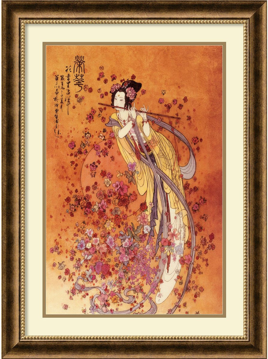 "32""H x 24""W Goddess of Prosperity Framed Print by Chinese Burnished Bronze"