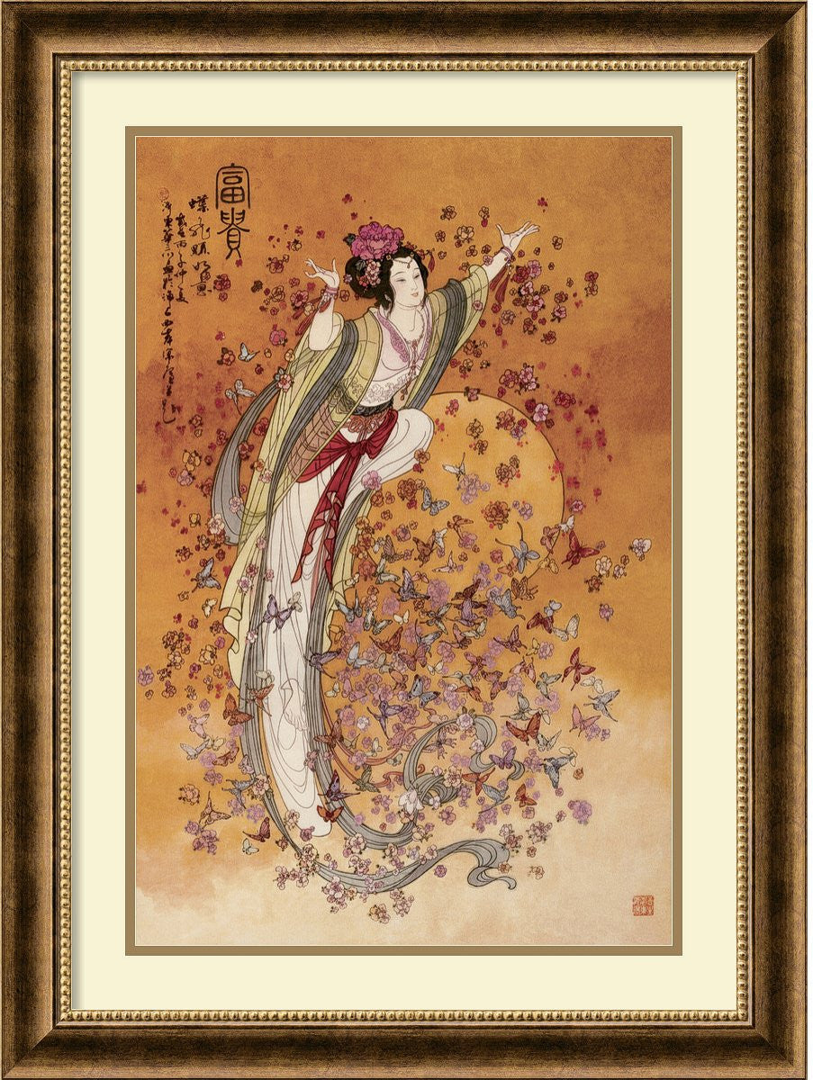 "32""H x 24""W Goddess of Wealth Framed Print by Chinese Burnished Bronze"
