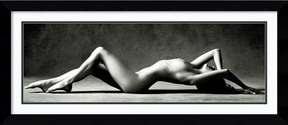 Nude Reclining Framed Print by Scott Mc Climont Arqadia Satin Black