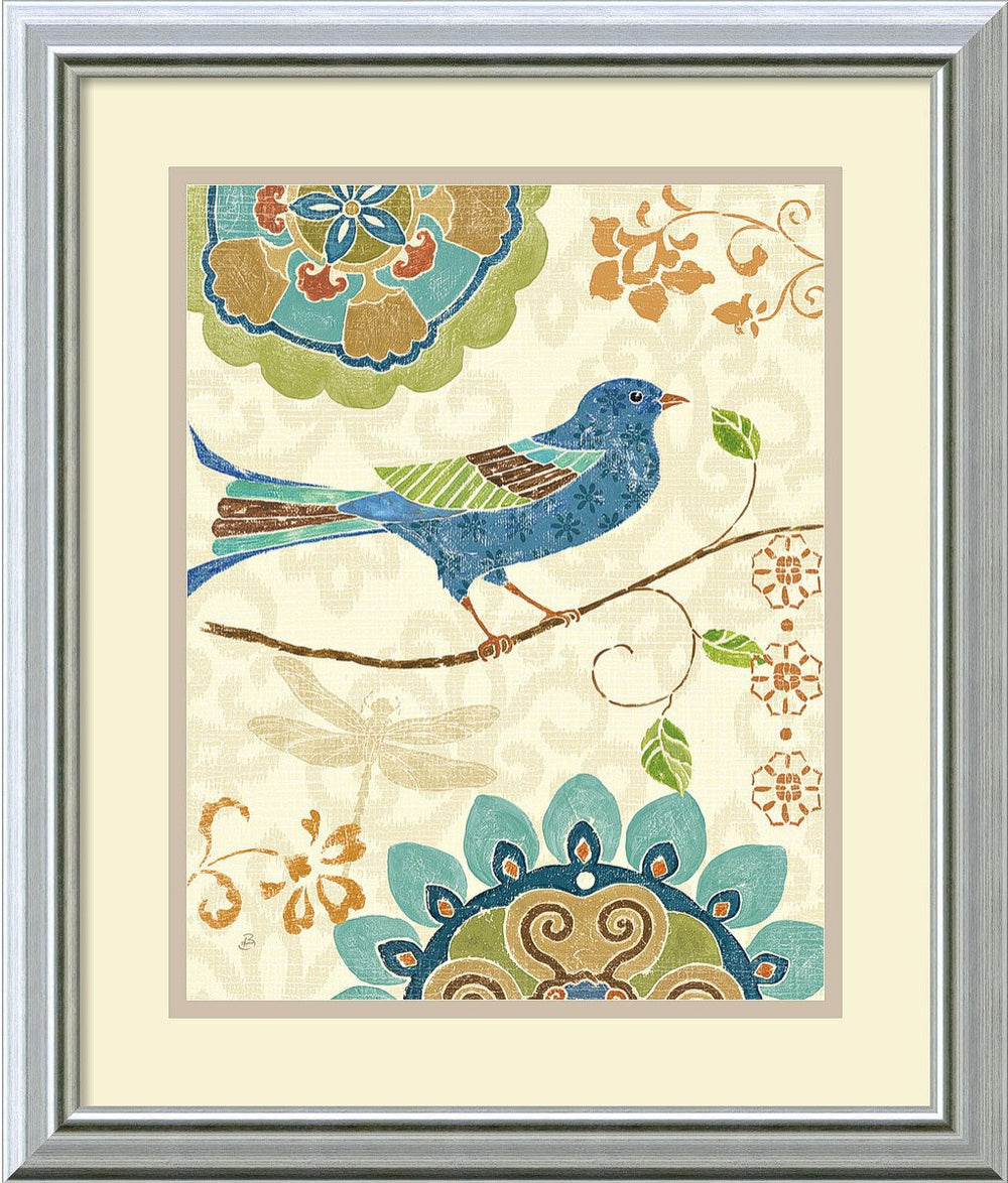 Eastern Tales Birds I Framed Print by Daphne Brissonnet Burnished Silver