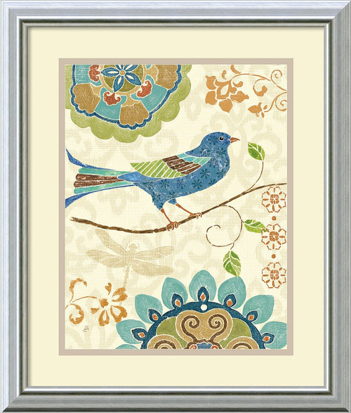Amanti Art Eastern Tales Birds I Framed Print by Daphne Brissonnet Burnished Silver AA405758