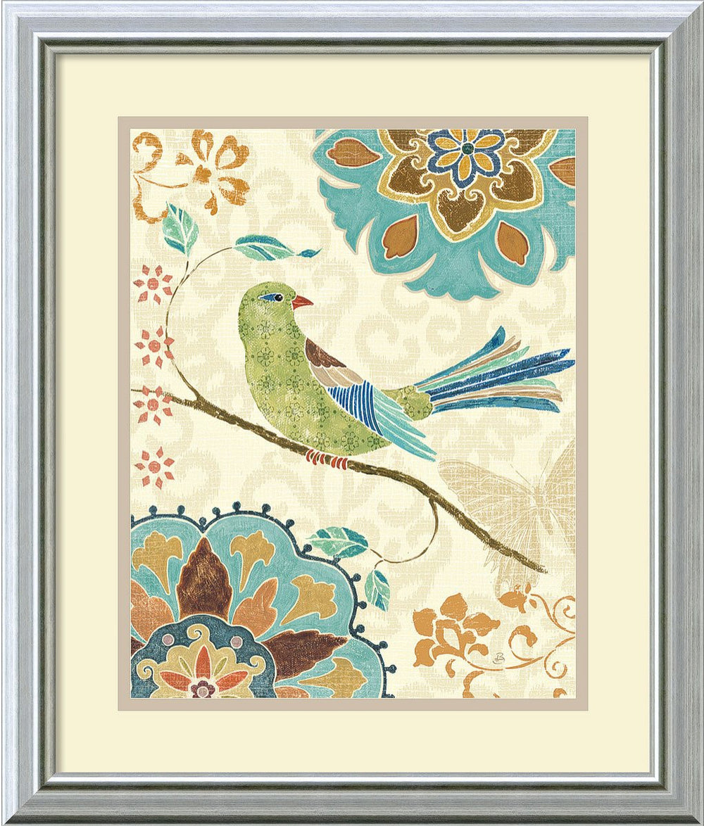Eastern Tales Birds II Framed Print by Daphne Brissonnet Burnished Silver