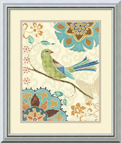 Amanti Art Eastern Tales Birds II Framed Print by Daphne Brissonnet Burnished Silver AA405759