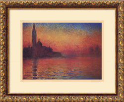 Claude Monet Dusk Sunset in Venice 1908 Framed Art Print Antique Bronze