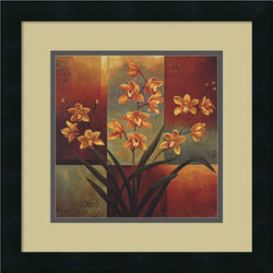 Jill Deveraux Orange Orchid Framed Art Print Satin Black