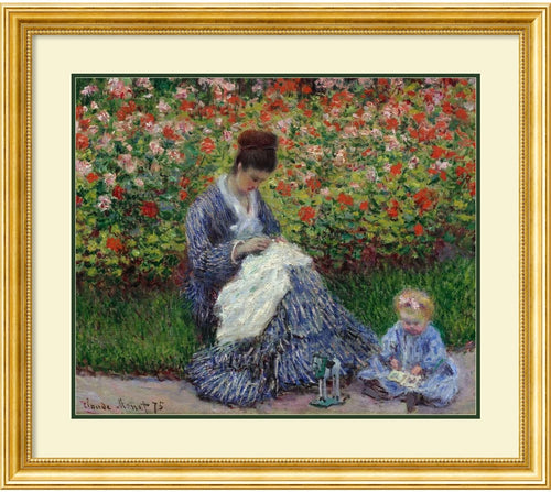 Amanti Art Camille Monet with a Child in Painter's Garden at Argenteuil 1875 Framed Print Gold with Beading AA574568