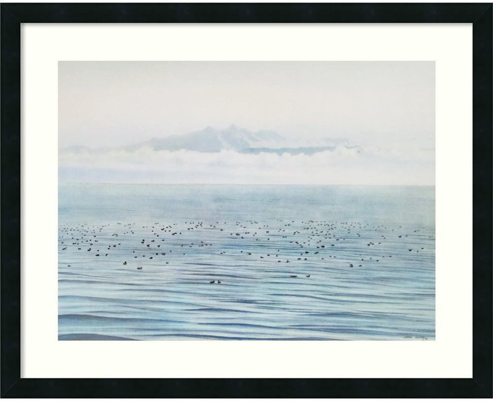 "24""H x 30""W Migrating Ducks Framed Print Satin Black"