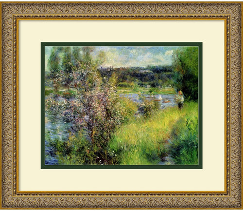 Amanti Art The Seine at Chatou Framed Print Embossed Antique Gold AA574574
