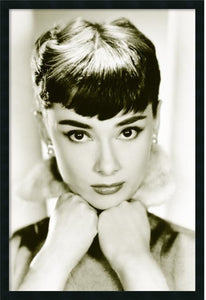 "38x26"" Audrey Hepburn Sepia Wall Art Satin Black"