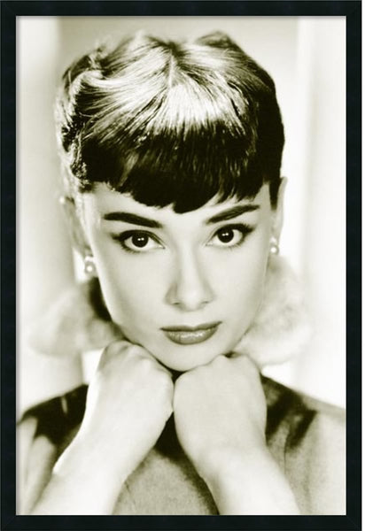 Amanti Art Audrey Hepburn Sepia Wall Art Satin Black AA577238