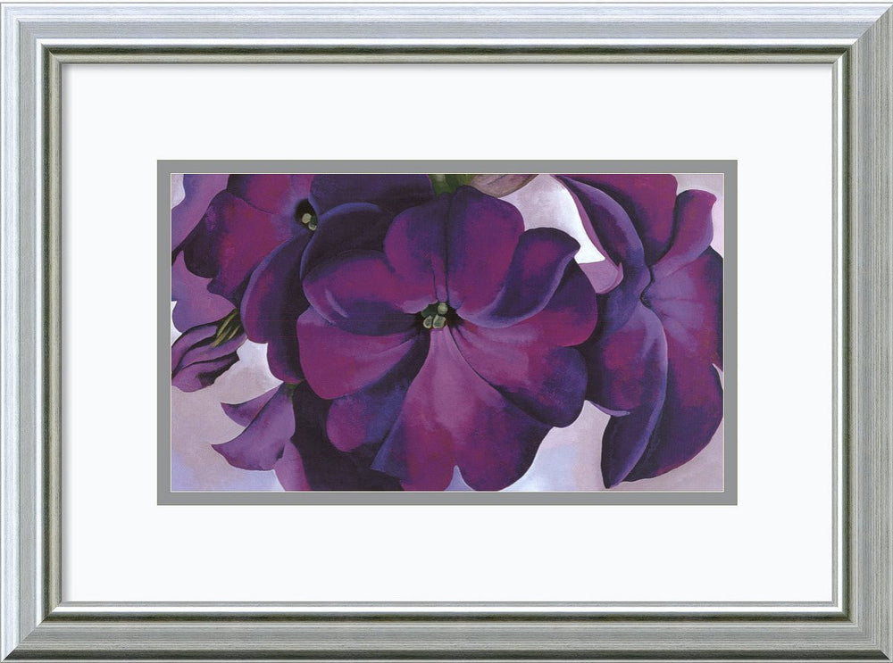 "14""H x 19""W Petunias 1925 Framed Print by Georgia O-Keeffe Burnished Silver"