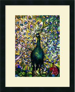 Fine Peacock Framed Print by Tiffany Studios Satin Black
