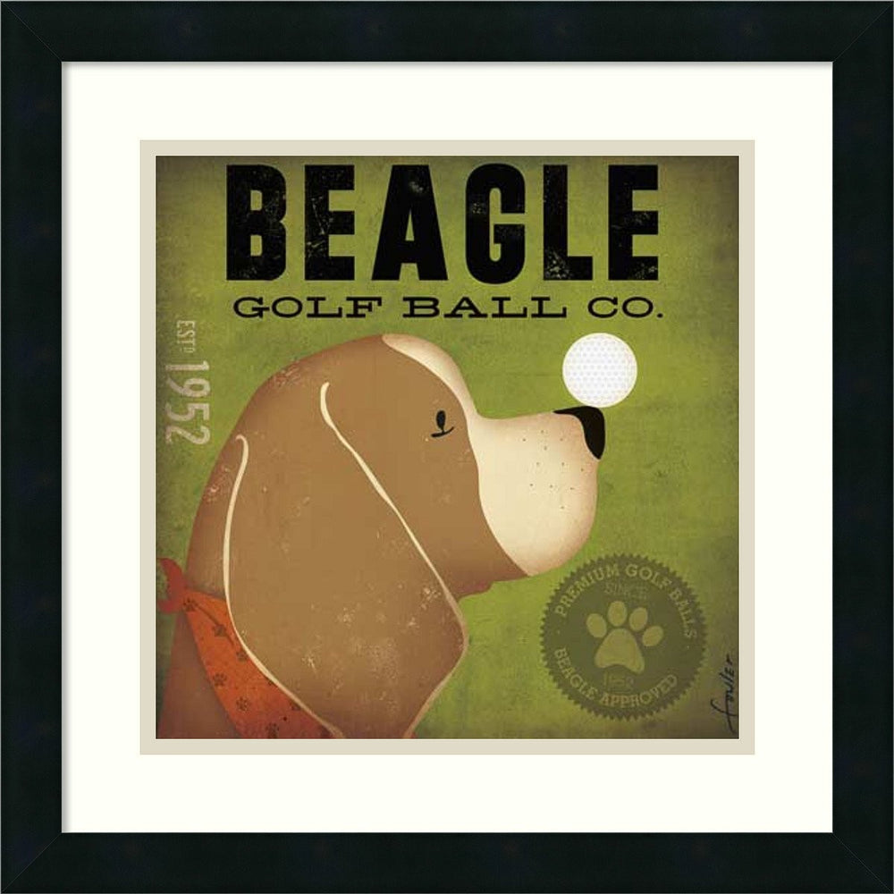Beagle Golf Ball Co. Framed Print by Stephen Fowler Satin Black