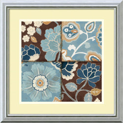 Amanti Art Patchwork Motif Blue II Framed Print by Alain Pelletier Burnished Silver AA579077