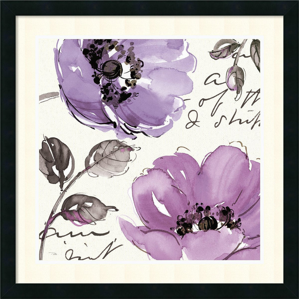 Floral Waltz Plum II Framed Print by Pela Studio Satin Black