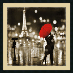 Kate Carrigan A Paris Kiss Framed Art Print Satin Black