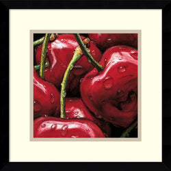 AlmaCh Cherries Framed Art Print White/Warm Gray